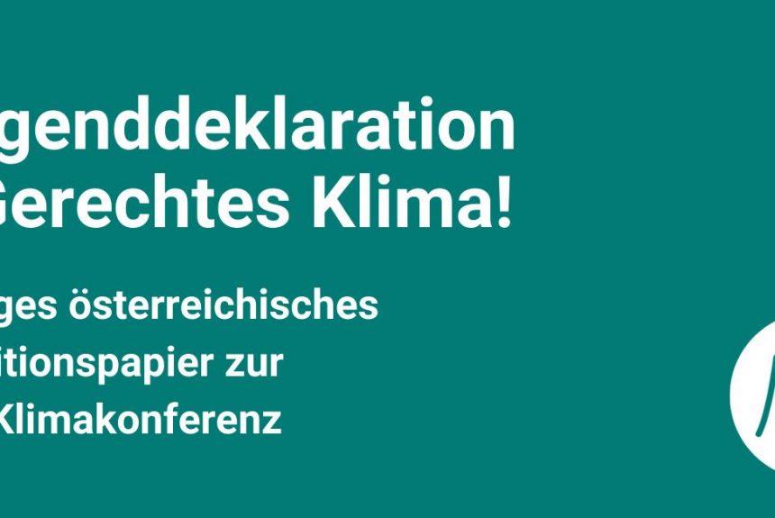 Jugenddeklaration – Gerechtes Klima!